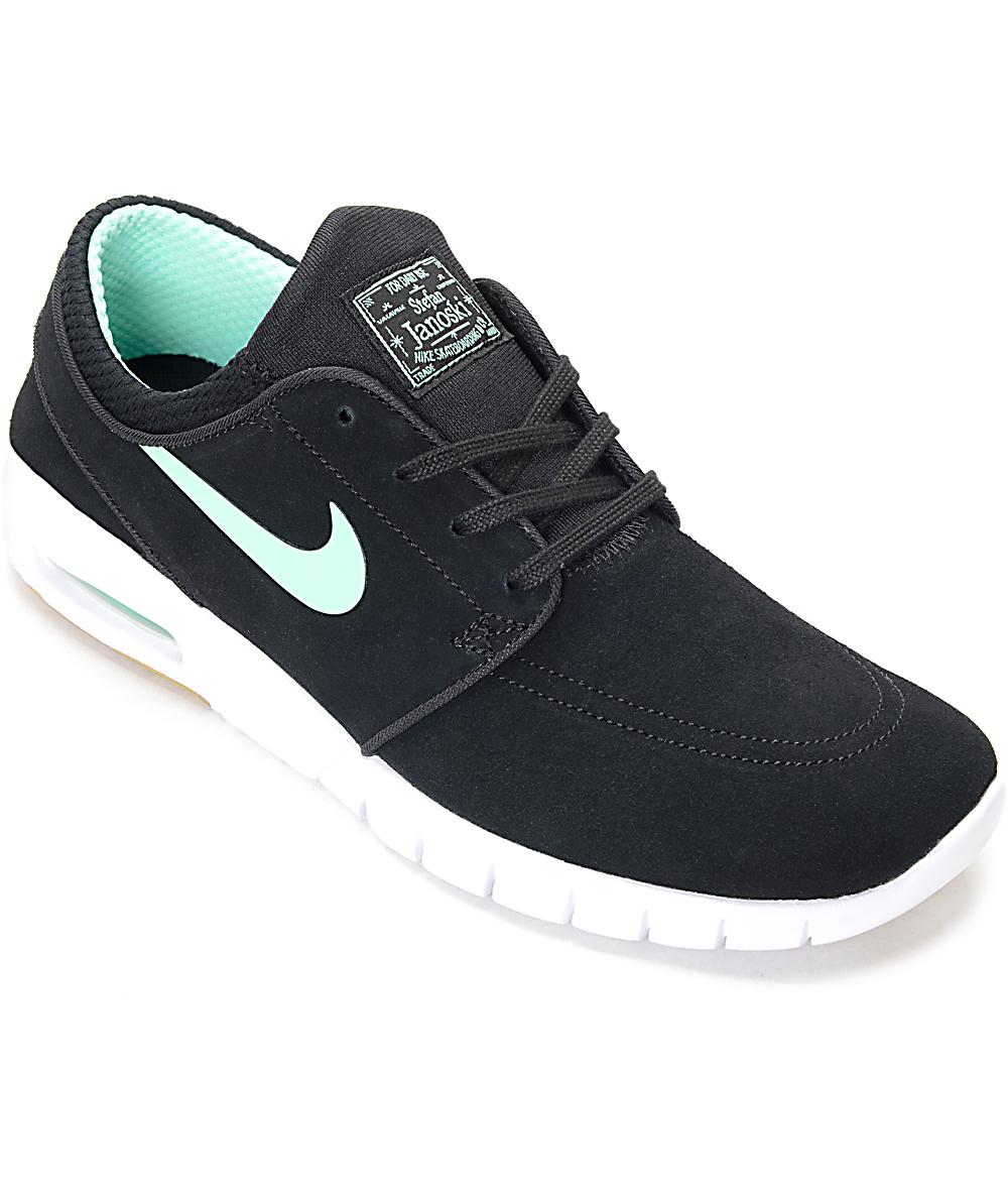 on sale 1723b 1c72e Nike SB Stefan Janoski Air Max Black   Green Glow Skate Shoes   Zumiez