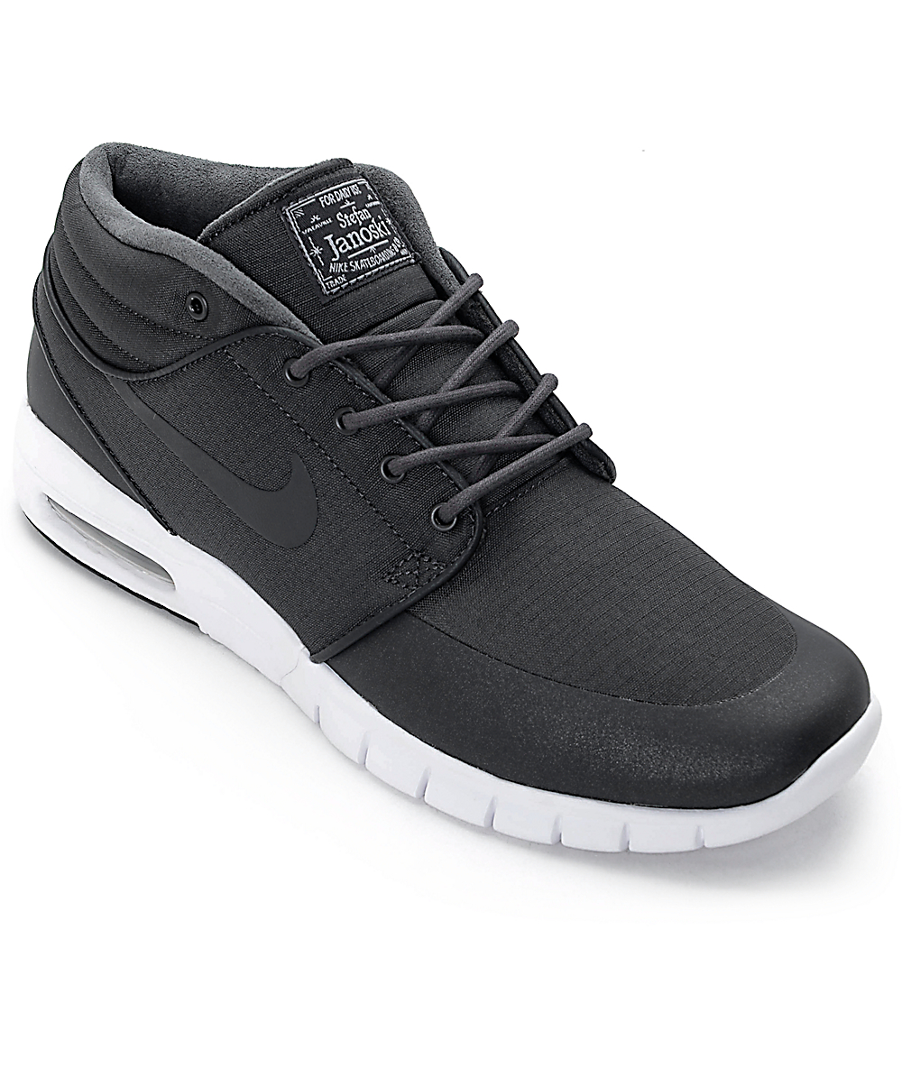 good quality better the latest Nike SB Stefan Janoski Mid Anthracite Black & White Skate Shoes