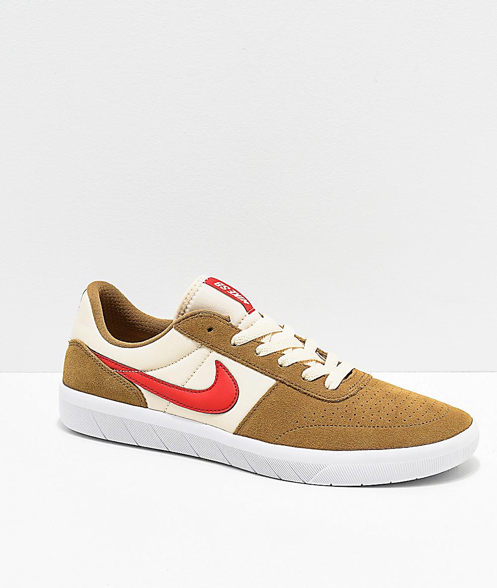 Nike SB Team Classic Golden Beige & Red Skate Shoes