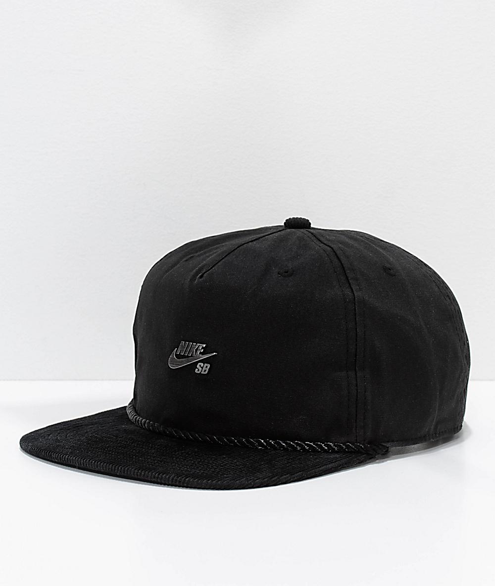 4b05c4393 Nike SB Waxed Canvas Black Strapback Hat