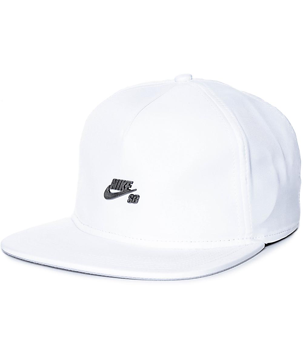 22b7f9134 Nike SB White Dri-Fit Unstructured Strapback Hat