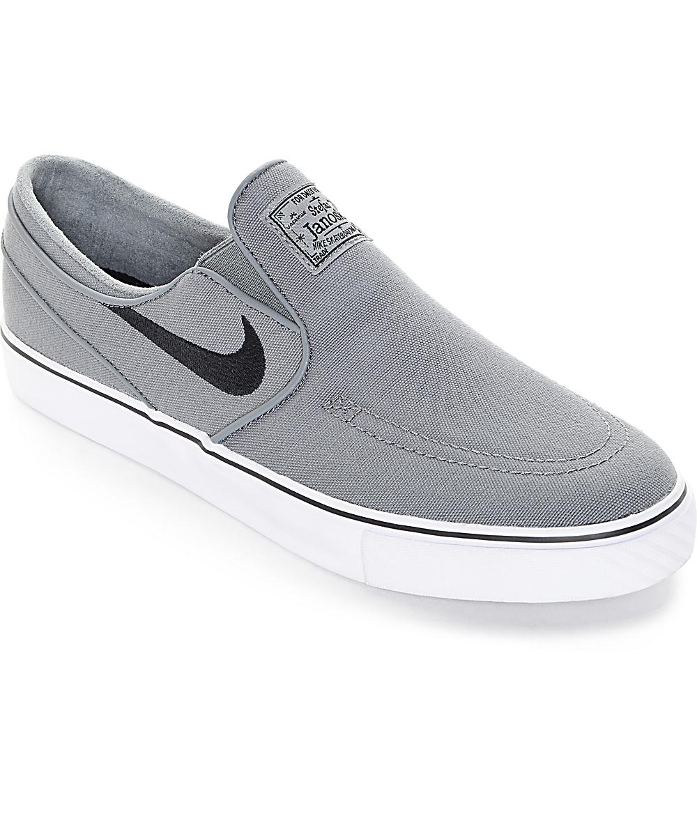 5affb5fc8603 Nike SB Zoom Janoski Cool Grey Canvas Slip On Shoes