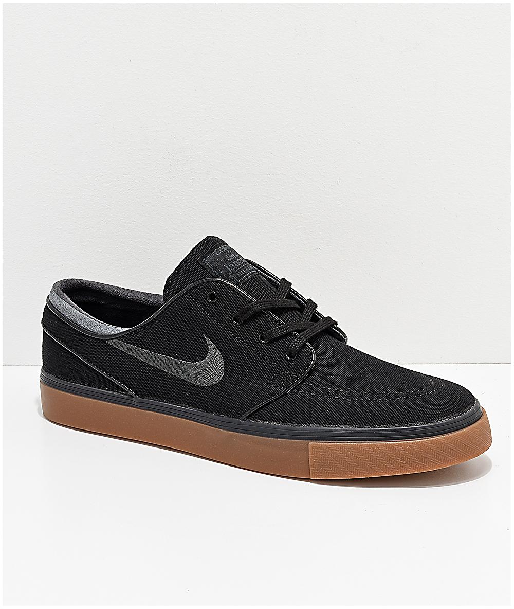 9556bf35b7abb Nike SB Zoom Stefan Janoski Black, Anthracite, & Gum Canvas Shoes | Zumiez