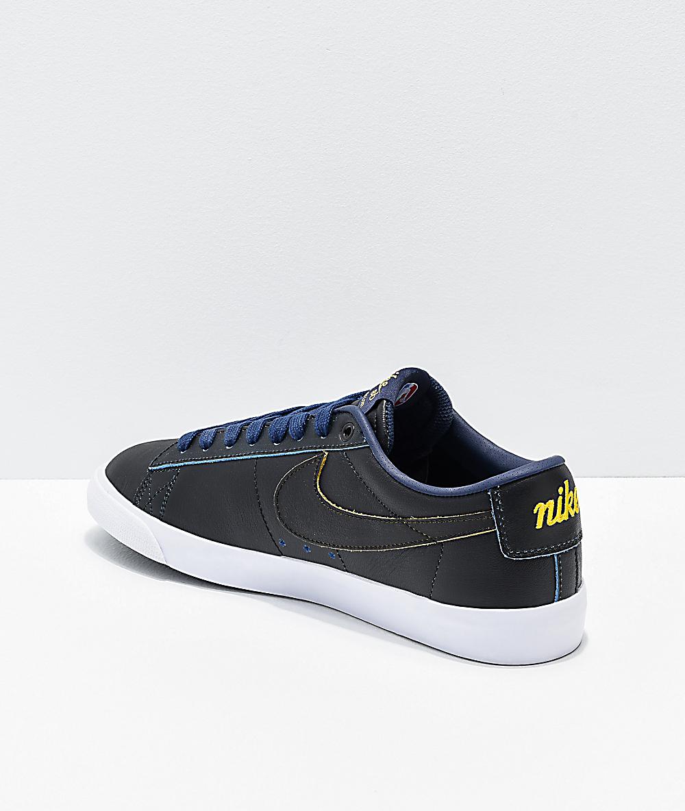 hot sale online 71d31 5d3b0 Nike SB x NBA Blazer Low GT Black, Yellow   Navy Skate Shoes   Zumiez