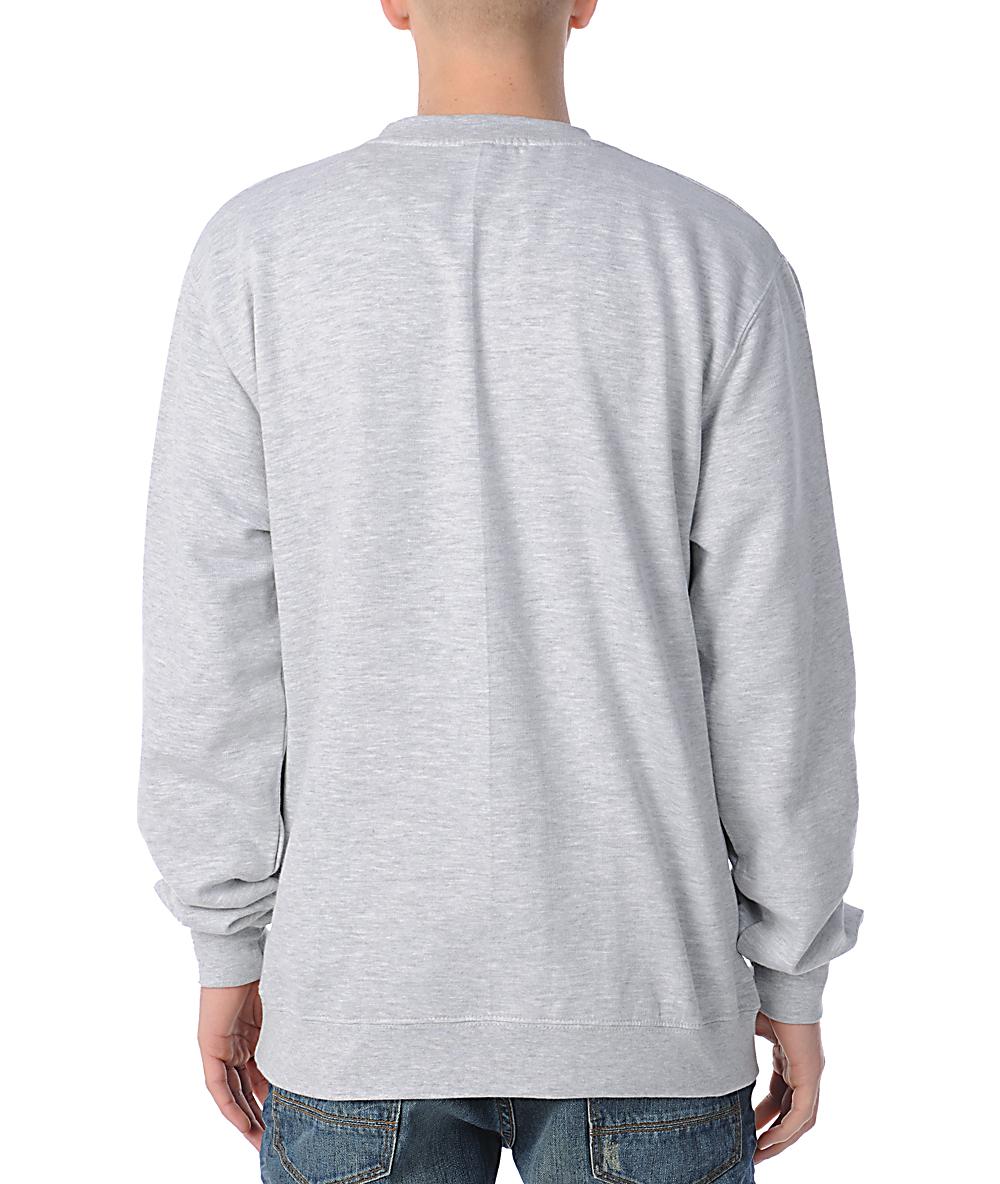 Obey Box Logo Grey Crew Neck Sweatshirt | Zumiez