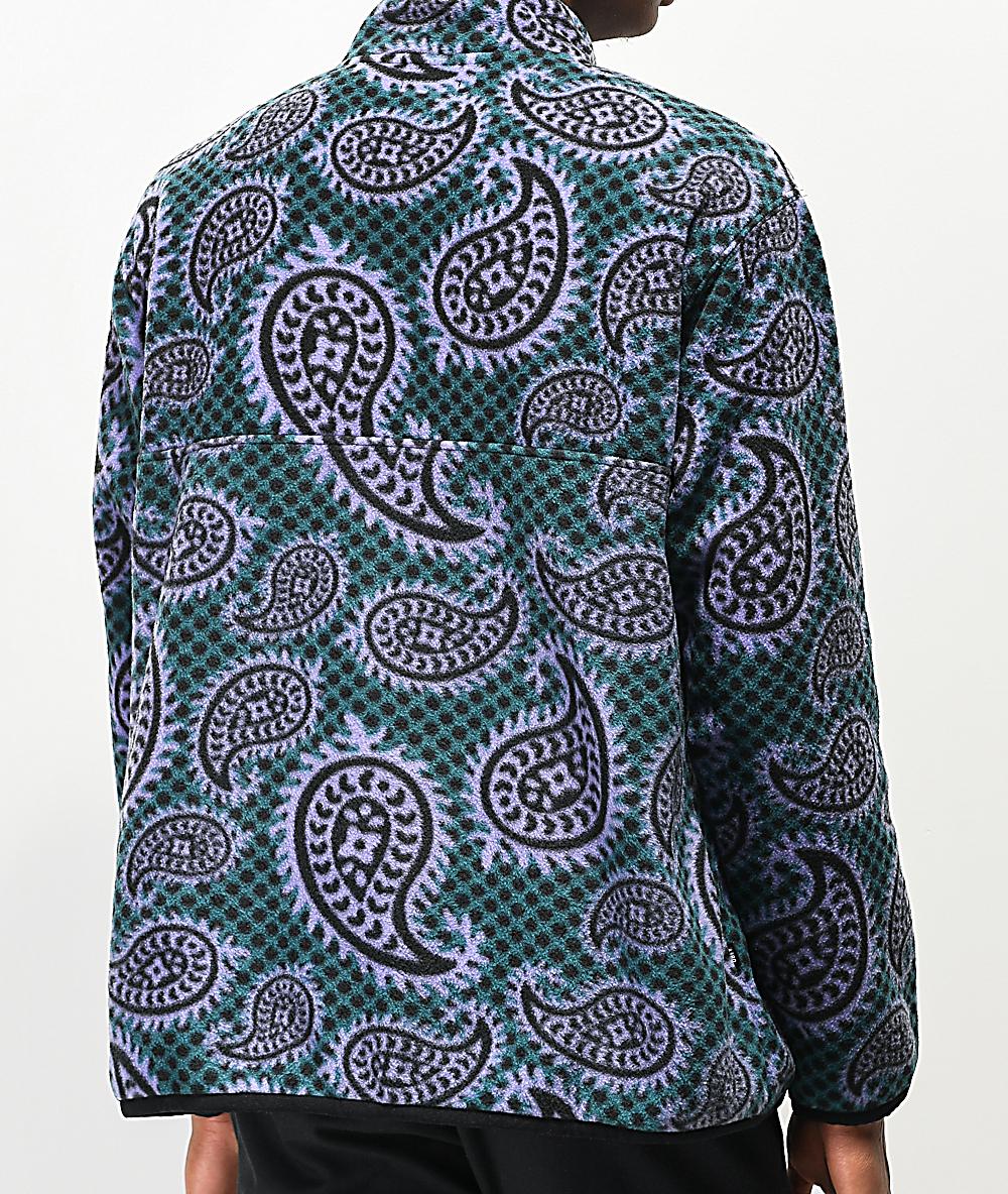 Obey Eisley Teal & Purple Mock Neck Fleece Sweatshirt