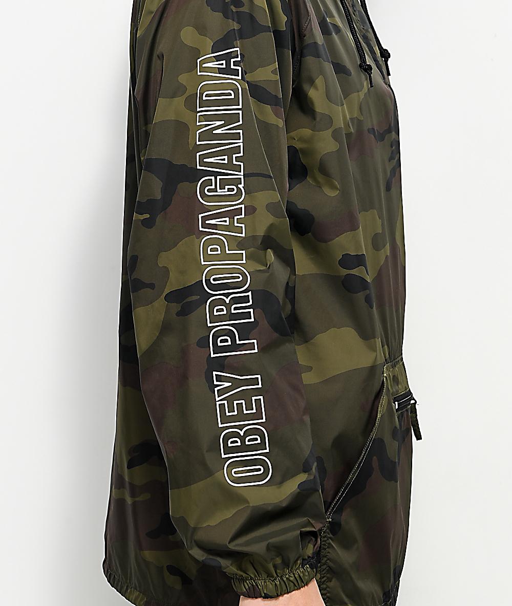 2ad91034e9d0f Obey Rough Draft Camo Anorak Windbreaker Jacket | Zumiez