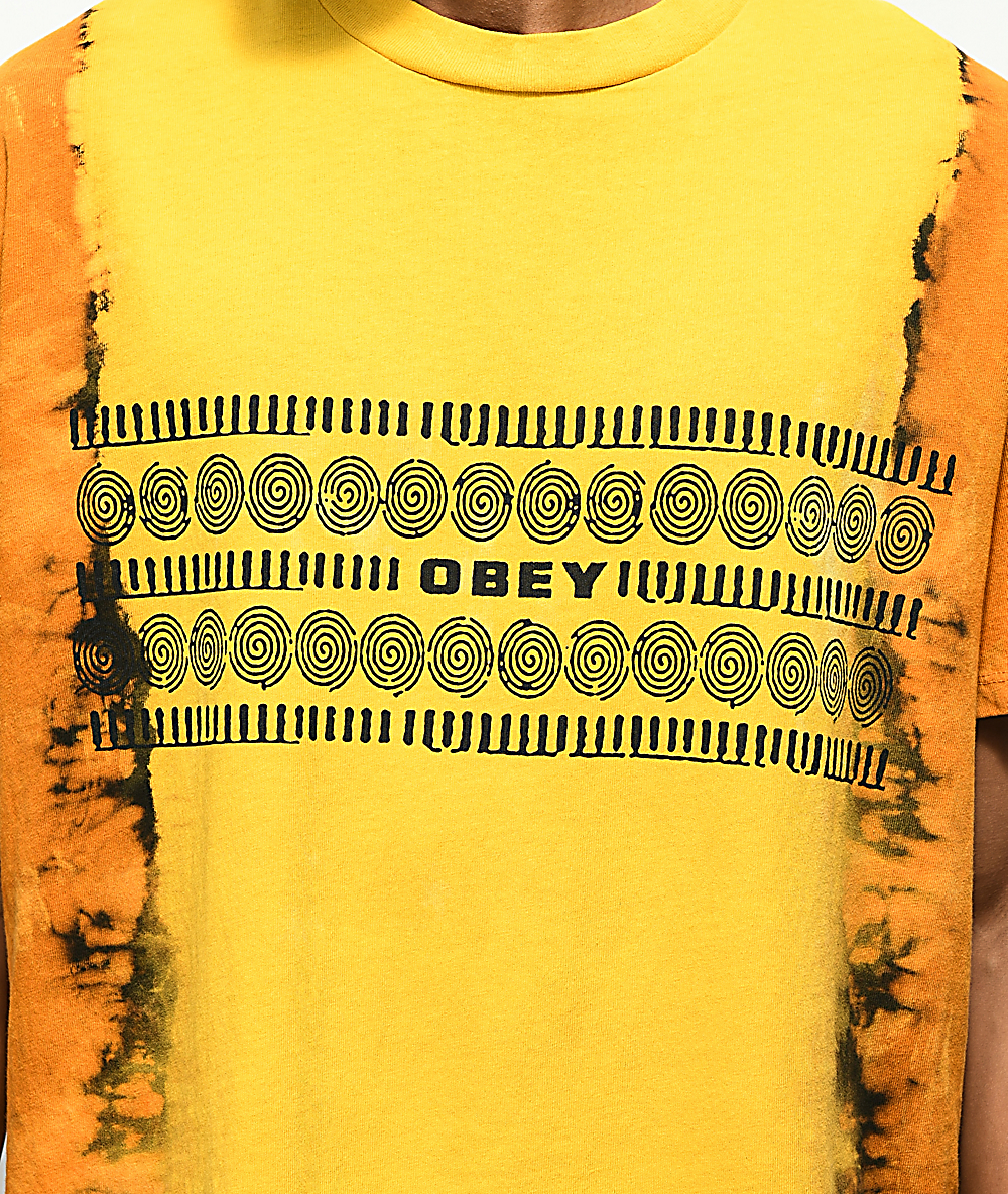 e87aa353fb2f Obey Tribal People Gold Tie Dye T-Shirt | Zumiez