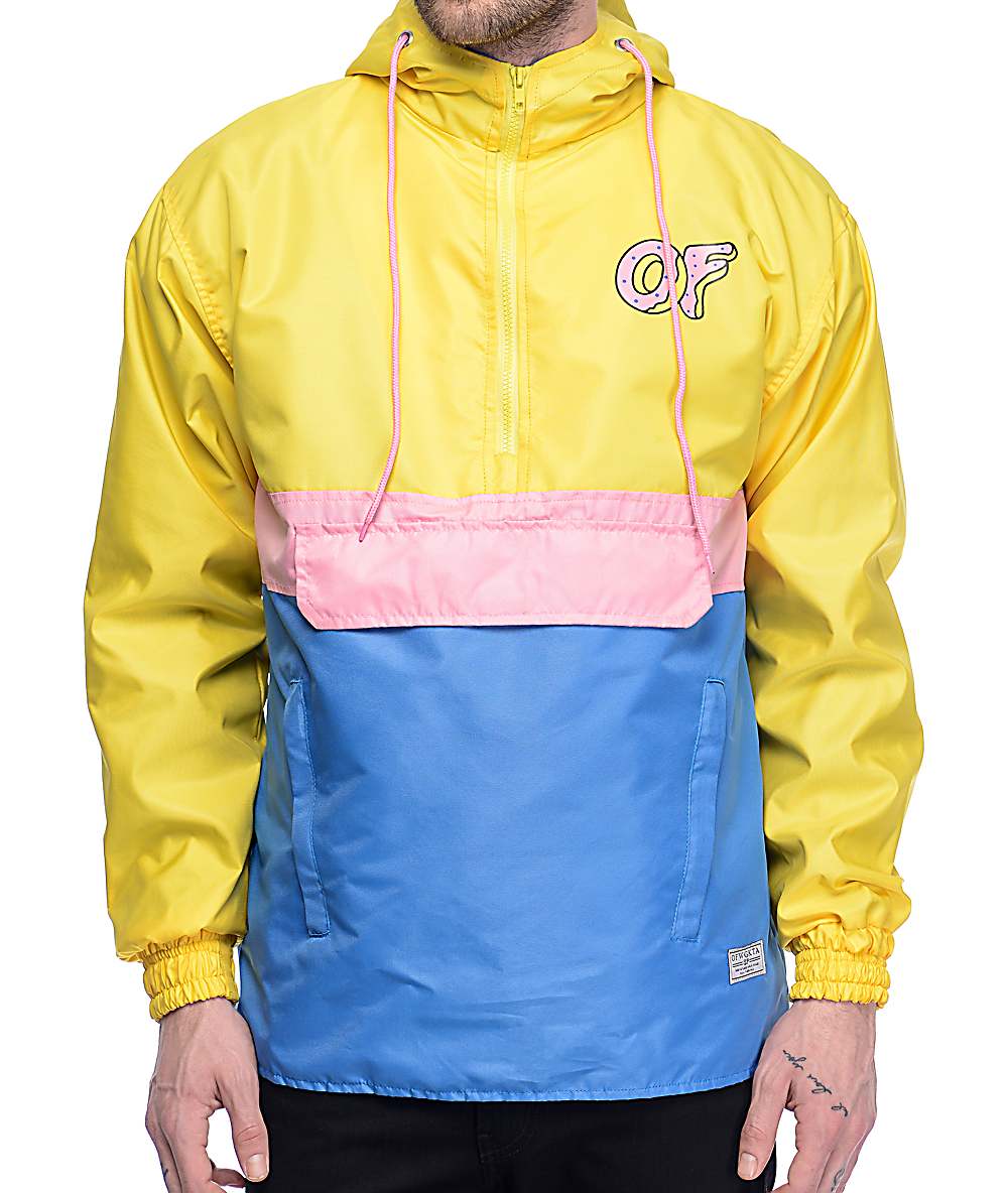 b5fdf5eb0 Odd Future Color Block Yellow, Pink & Blue Anorak Jacket