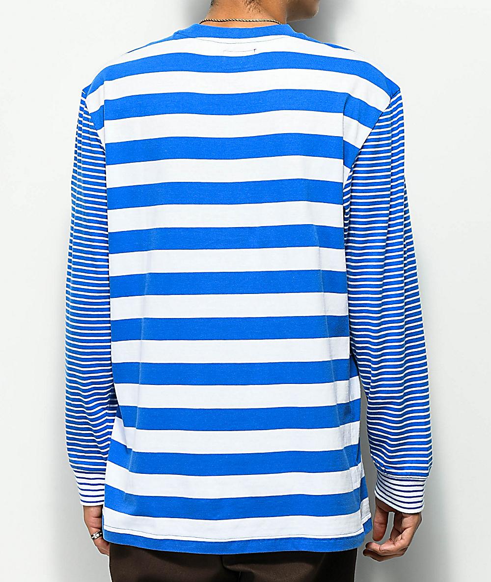 5fbdce9595fb Odd Future Multi Stipe Blue & White Long Sleeve T-Shirt | Zumiez