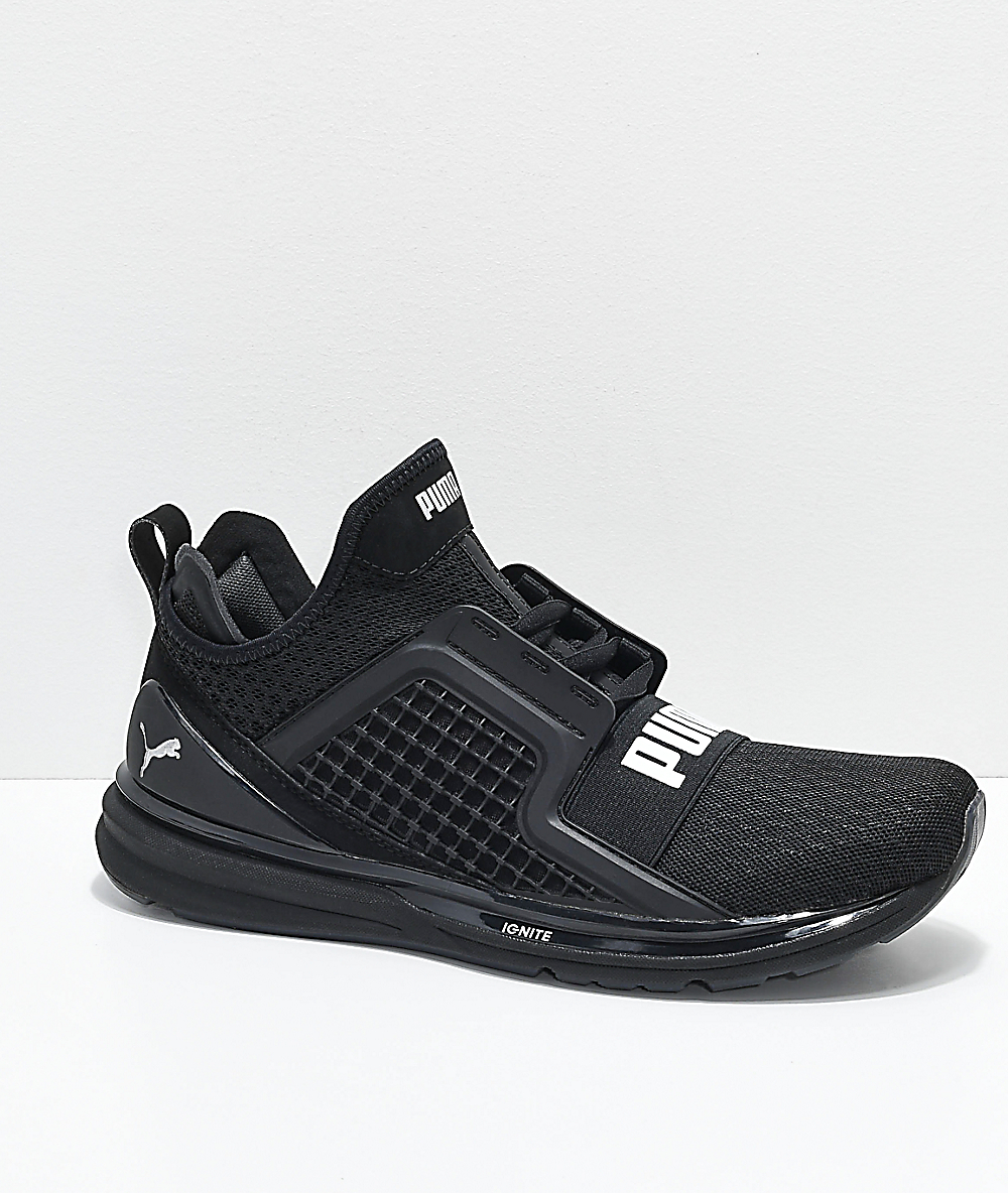 size 40 f19cd 266fa PUMA Ignite Limitless All Black Knit Shoes