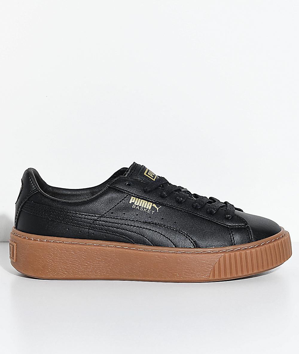 promo code 76c83 604b7 PUMA Basket Platform Black & Gum Shoes
