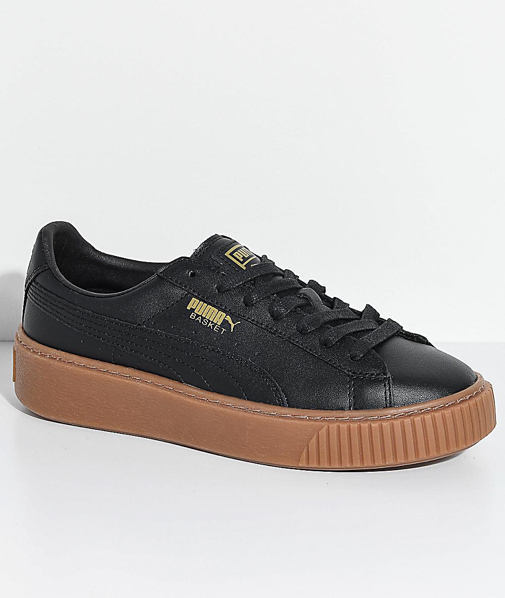 très convoité gamme de la moitié artisanat exquis PUMA Basket Platform Black & Gum Shoes