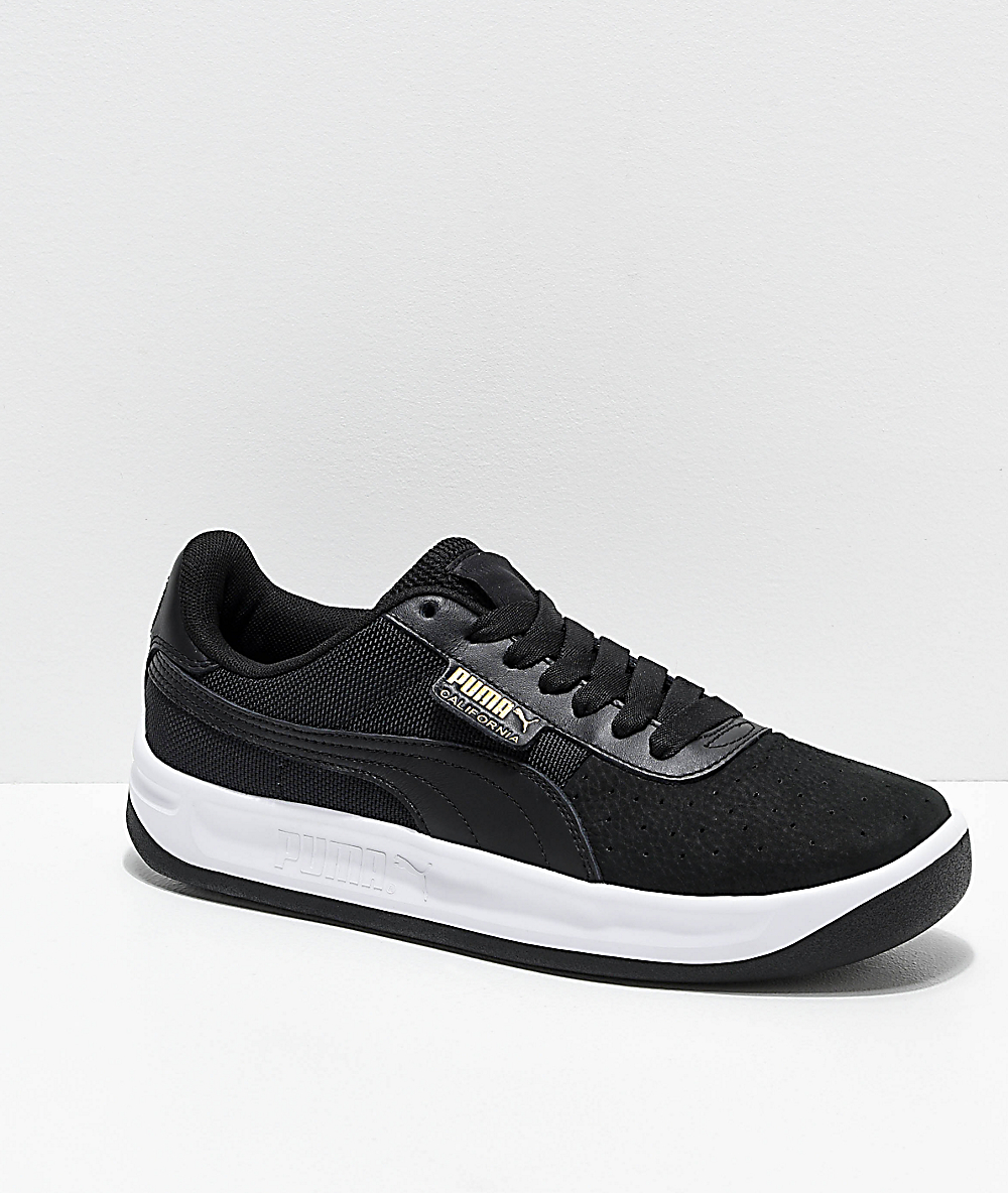PUMA California Black & White Shoes