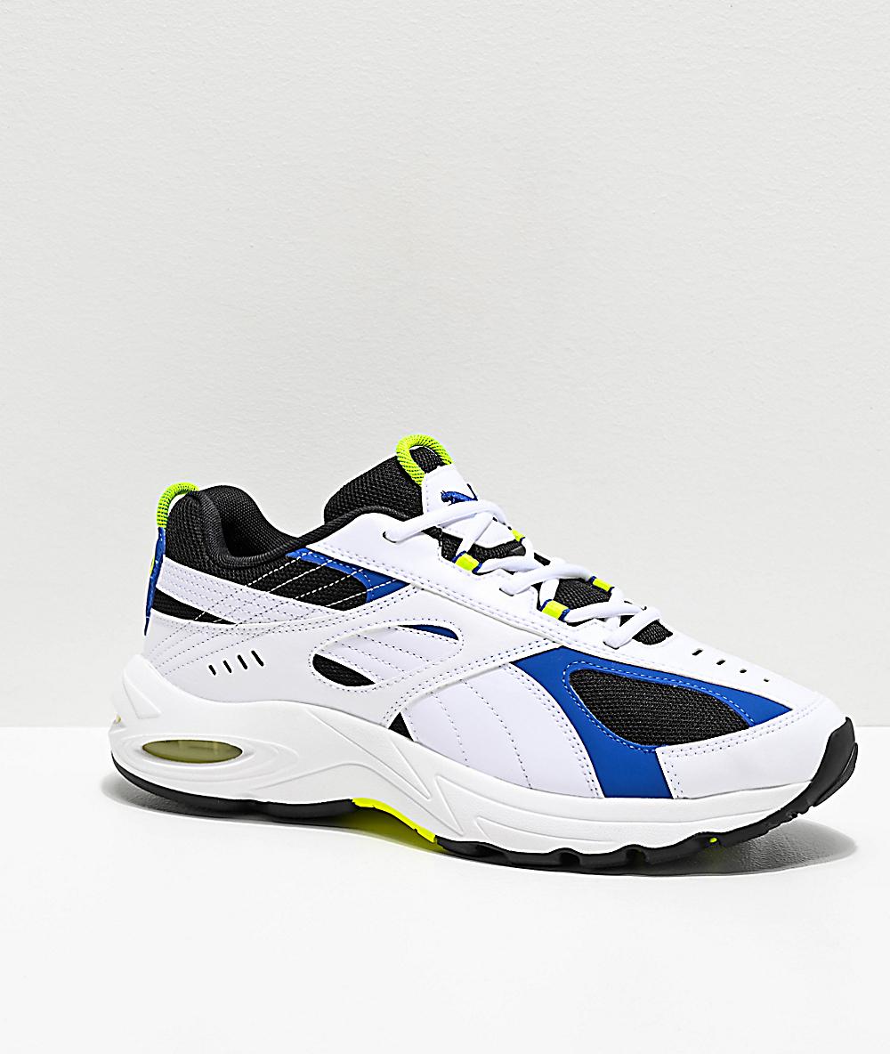 b79d5dac76239 PUMA Cell Speed White, Blue & Neon Green Shoes