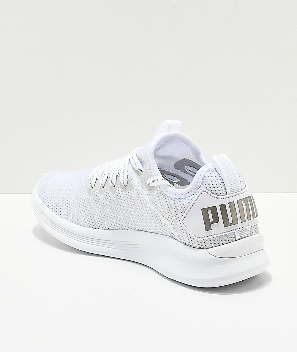 on sale f34ca f4c65 PUMA Ignite Flash Evoknit Grey & White Shoes