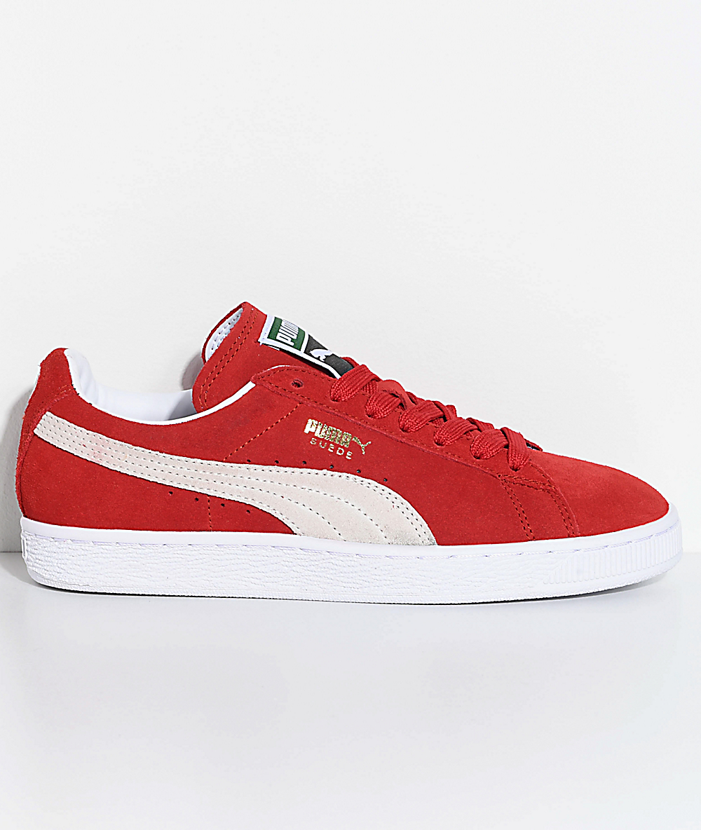 separation shoes 4a86a c1d35 PUMA Suede Classic+ High Risk Red & White Shoes