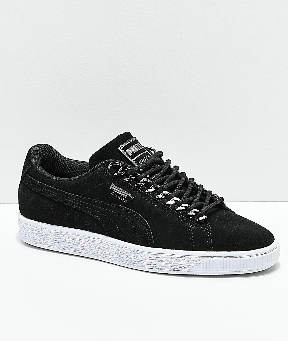 lowest price f918b 37abf PUMA Suede Classic Chains Black   White Shoes   Zumiez