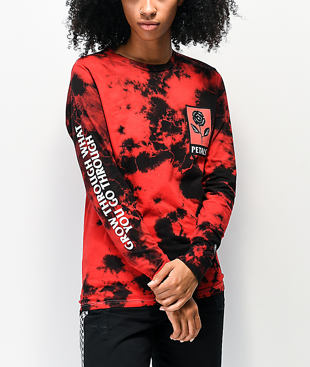Petals by Petals and Peacocks Growth Red & Black Tie Dye Long Sleeve T-Shirt