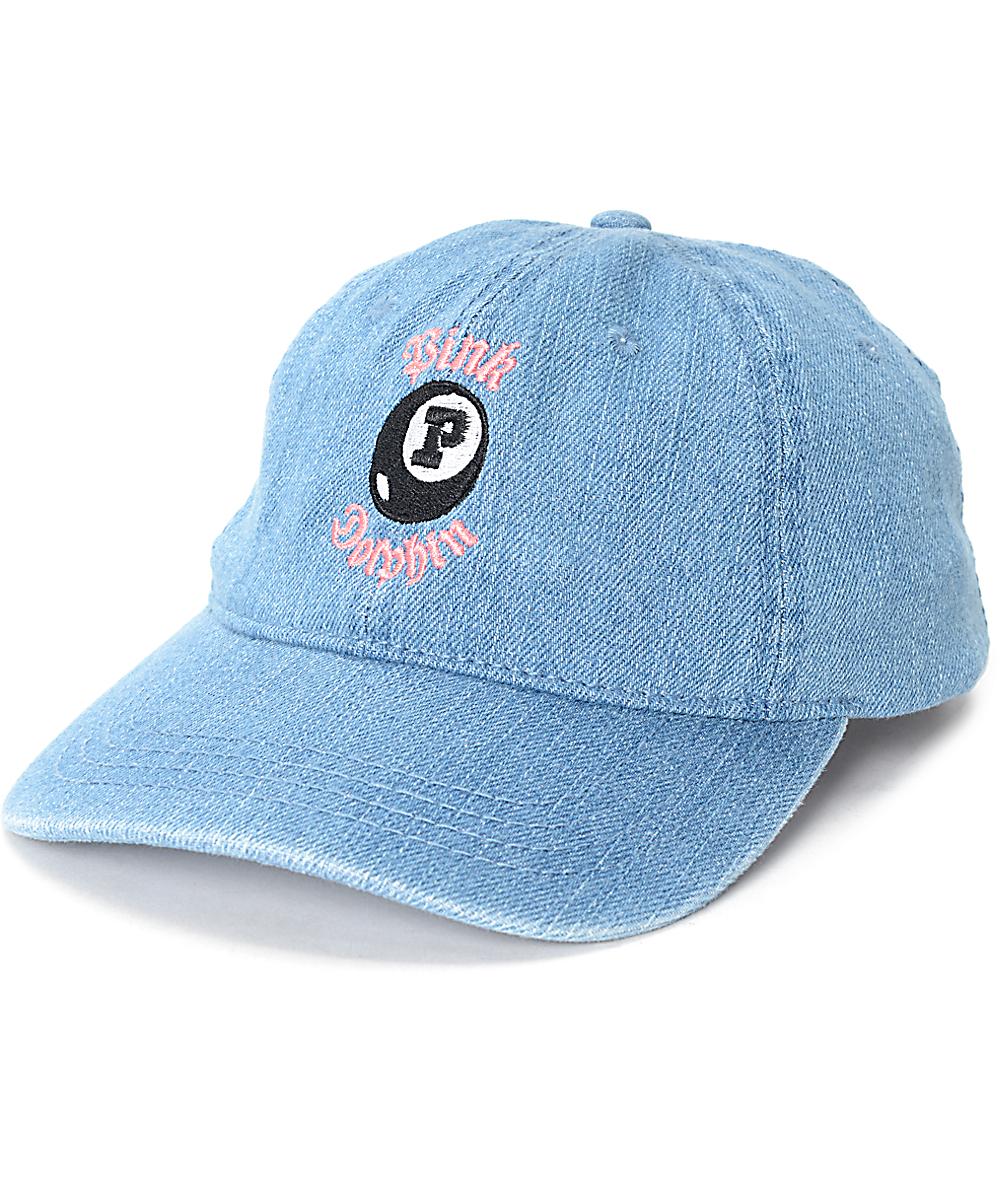 c2015812 Pink Dolphin Waves 8 Ball Denim Dad Hat