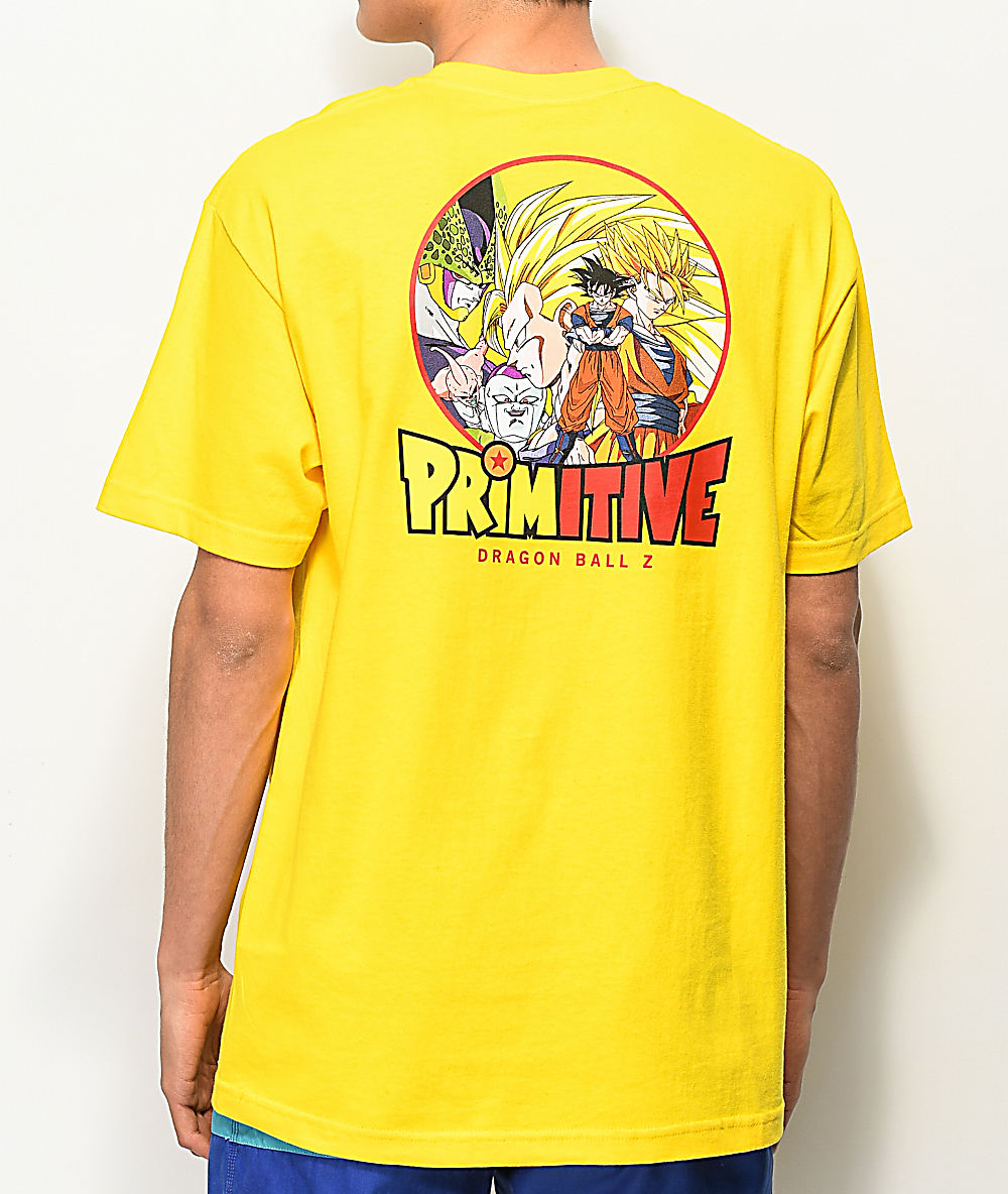 93917e72 Primitive x Dragon Ball Z Circle Yellow T-Shirt | Zumiez