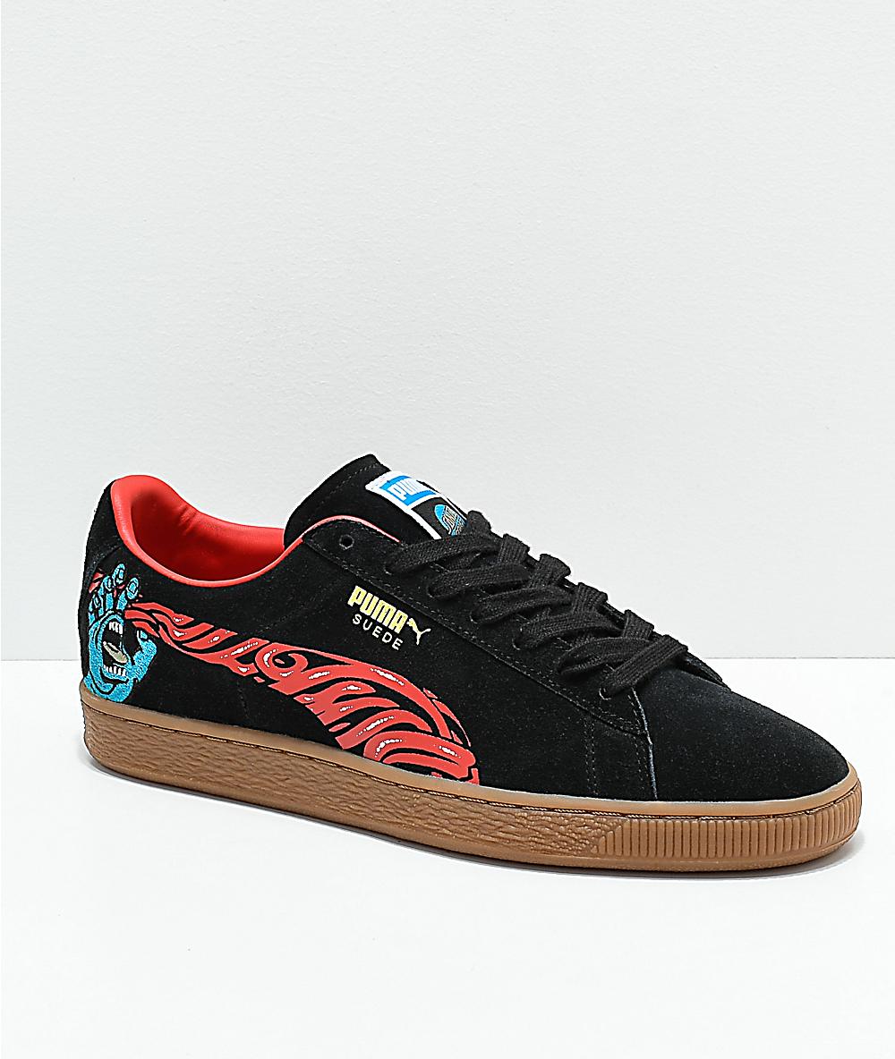 1339fda536 Puma x Santa Cruz Suede Classic+ Black & Gum Skate Shoes