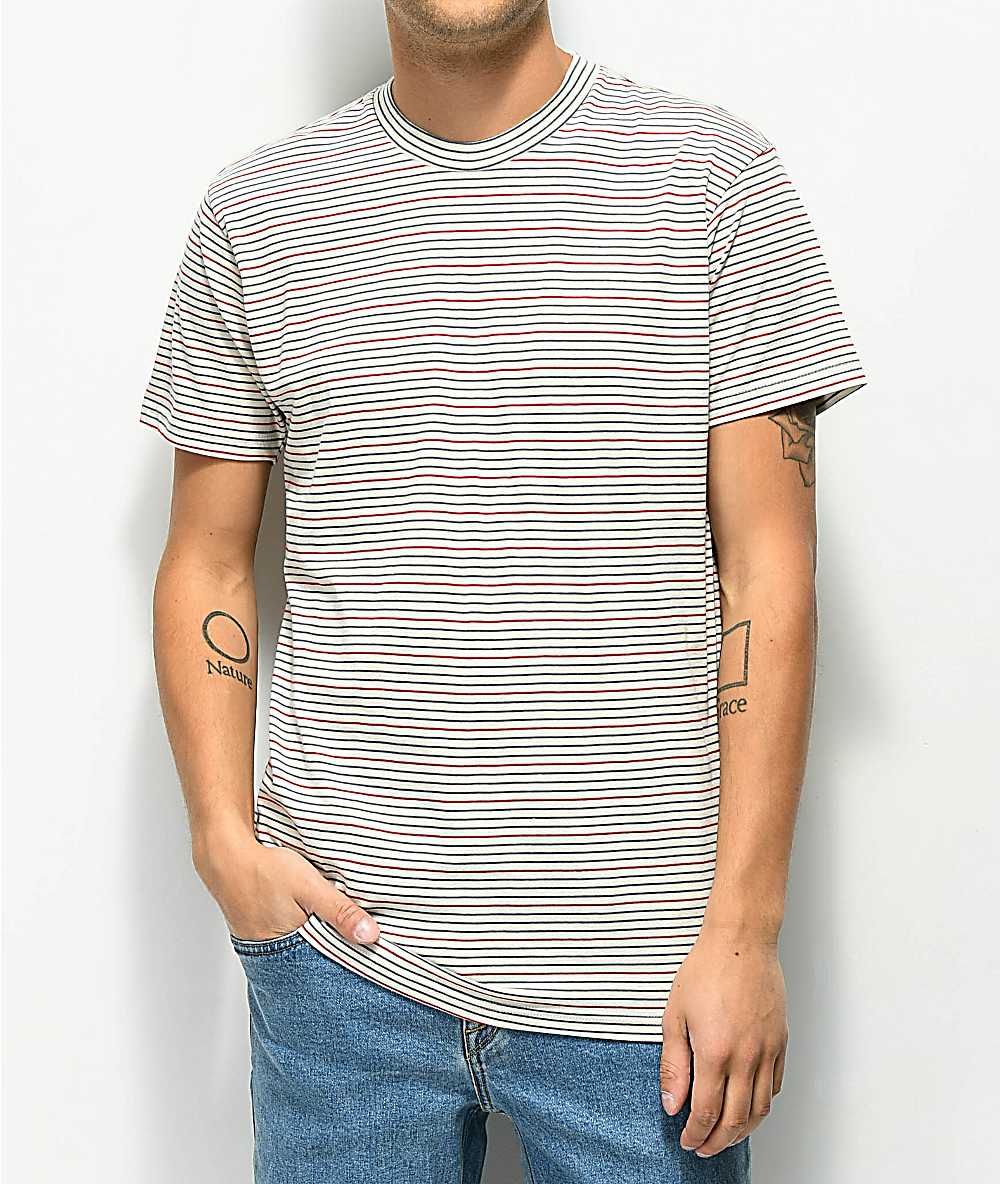 753a572d9ea72b RVCA Benson Off-White, Red & Teal Stripe Knit T-Shirt | Zumiez
