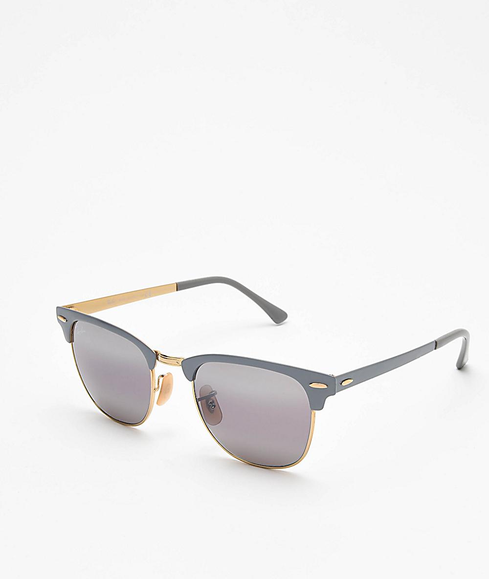40f45107b7a7 Ray-Ban Clubmaster Gold & Matte Grey Bi-Mirror Metal Sunglasses | Zumiez