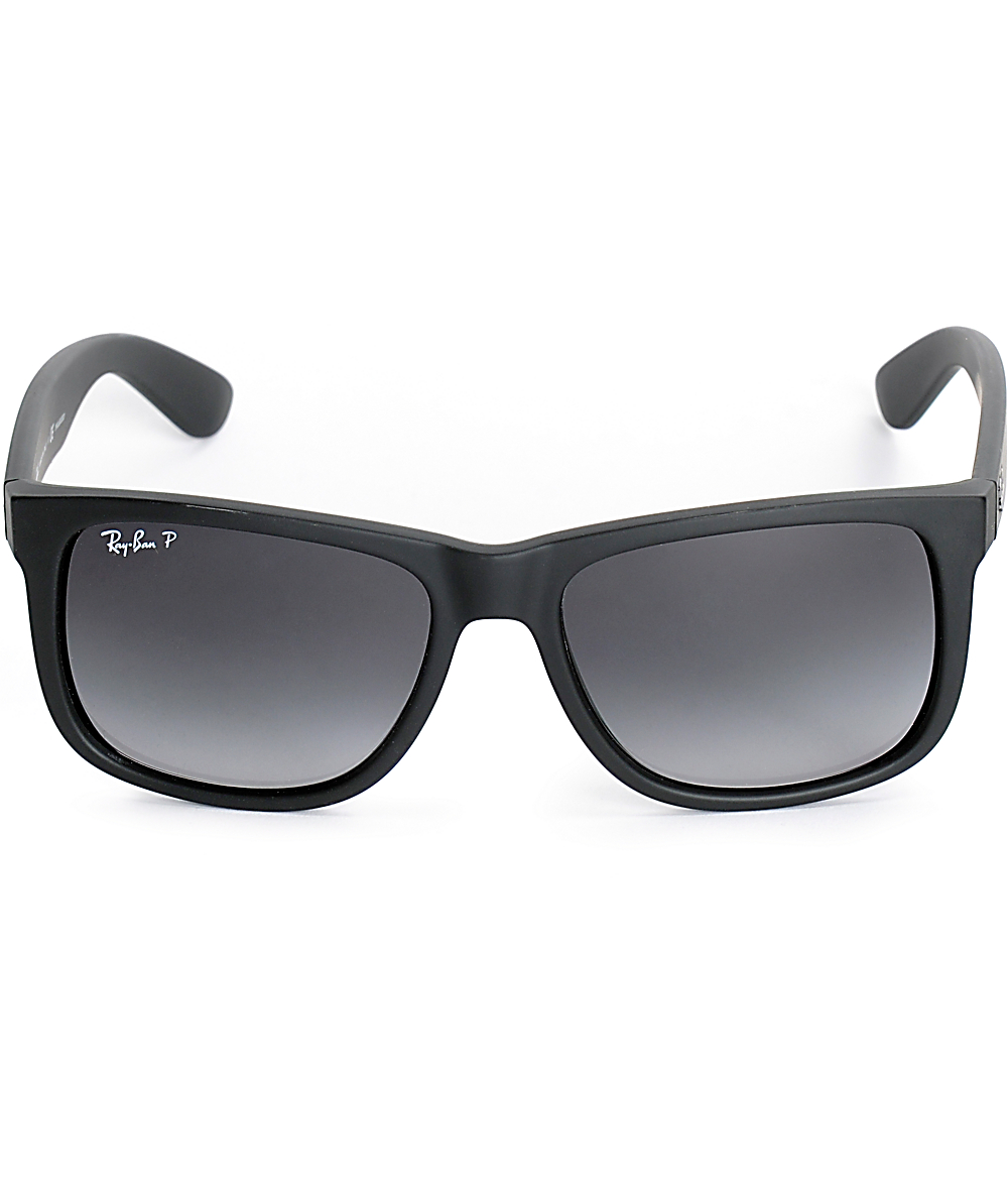 9b3ea8de7 Ray-Ban Justin Black Rubber Polarized Sunglasses | Zumiez