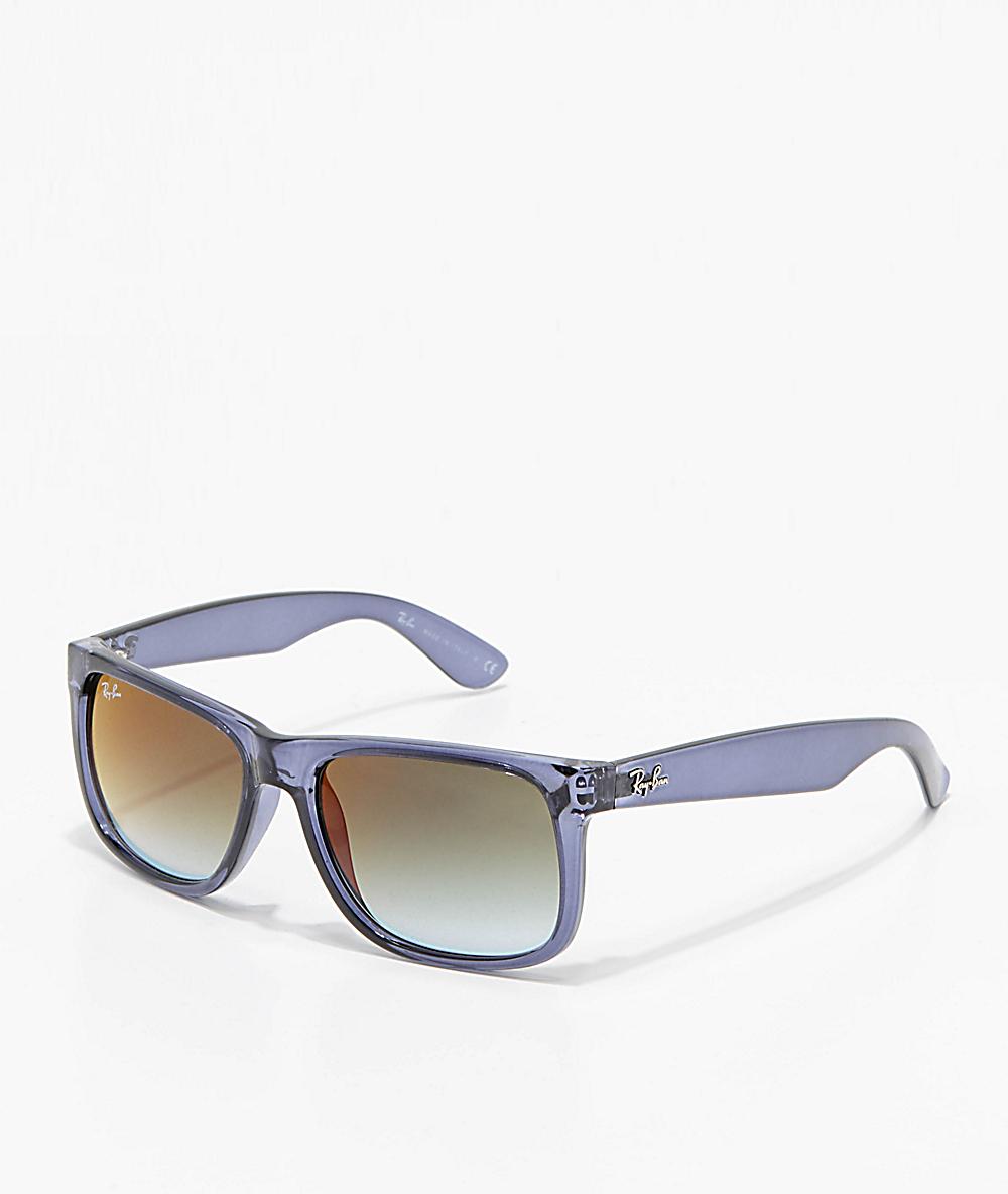 3da23a0d2967 Ray-Ban Justin Flash Green Gradient Mirror Blue Sunglasses | Zumiez