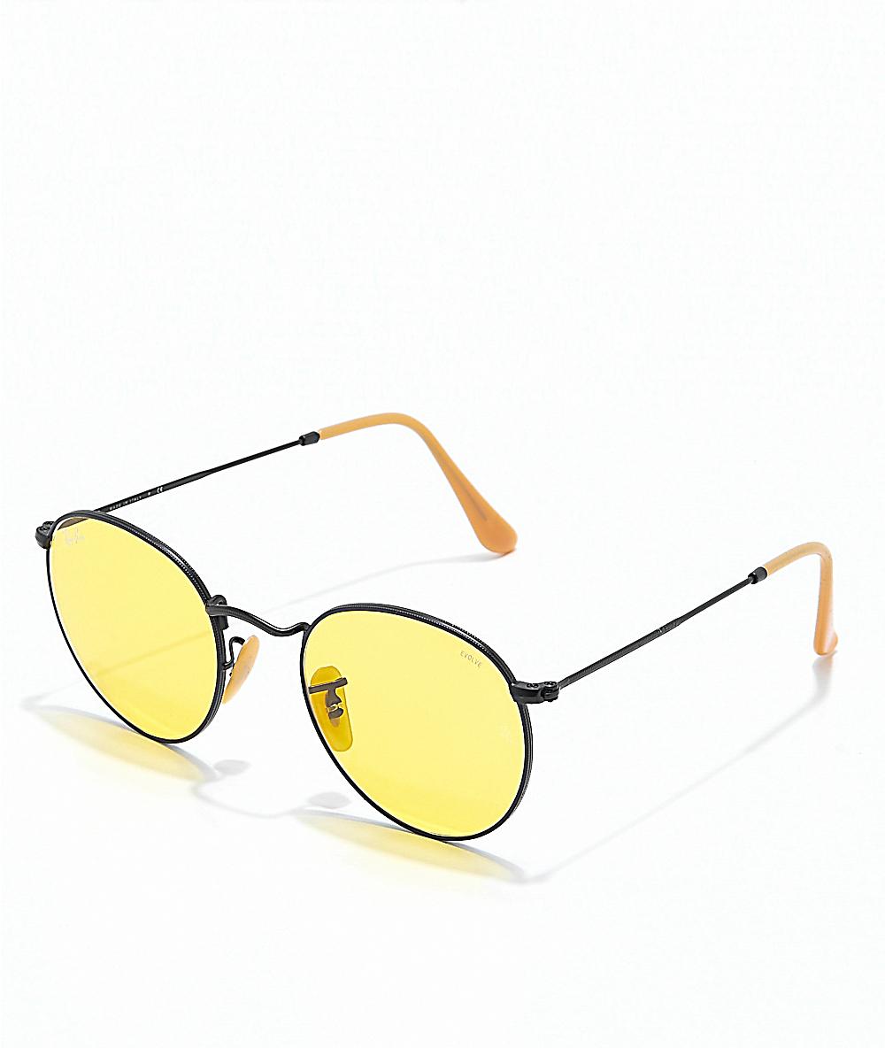 381d48711 Ray-Ban Round Icon Evolve Metal Black & Yellow Sunglasses | Zumiez