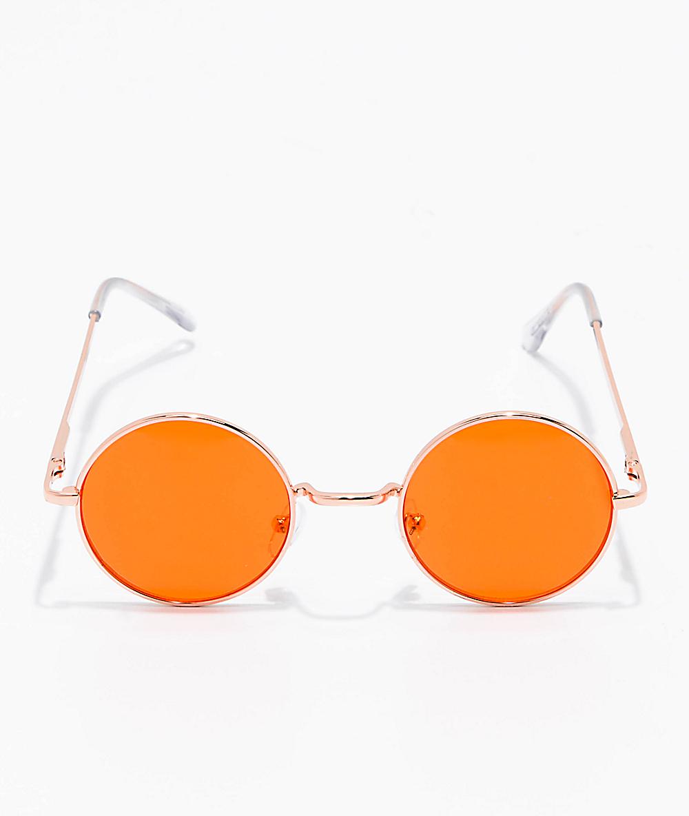 409b5fa8a0f1 Rose Gold & Orange Round Sunglasses   Zumiez