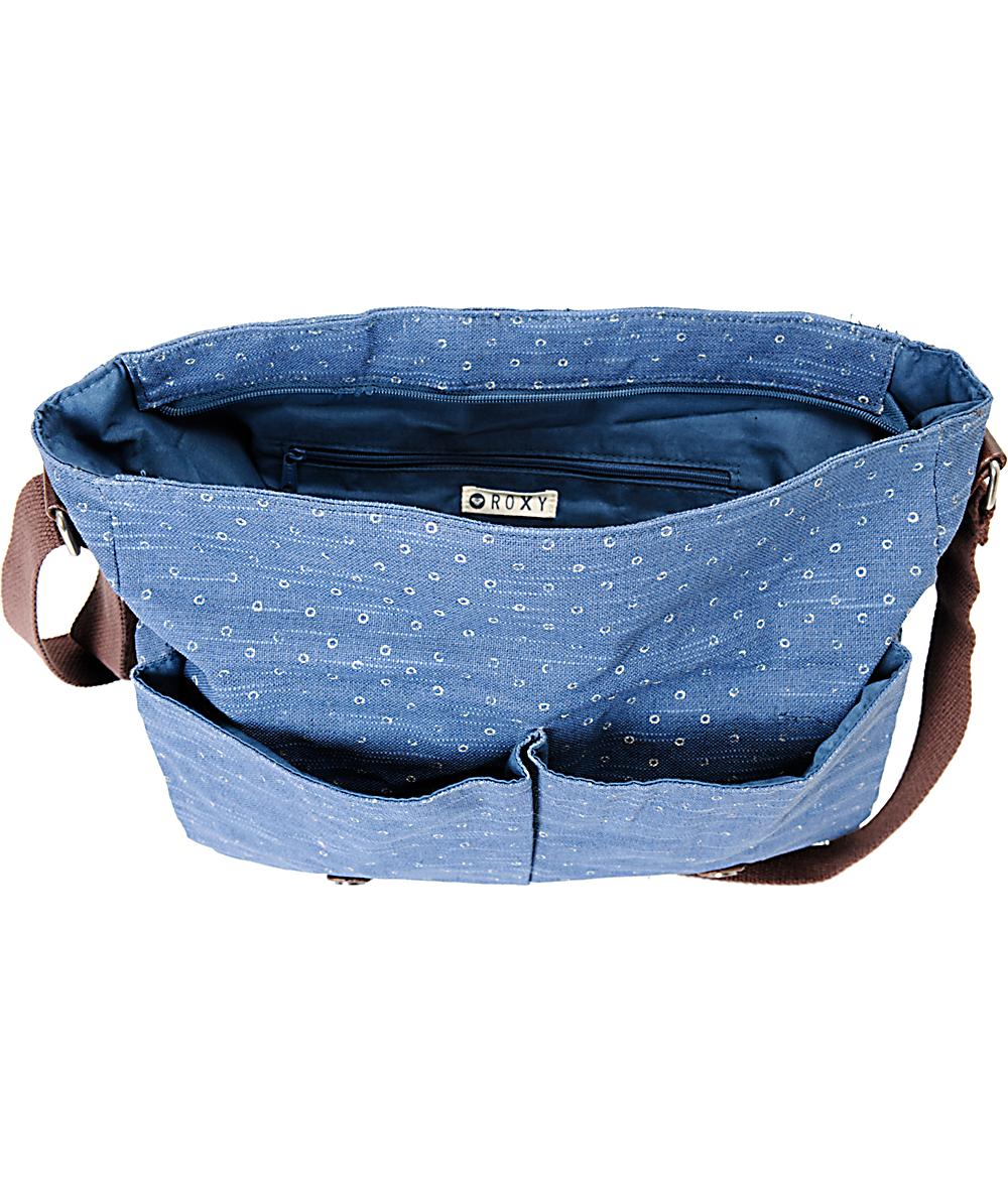 Roxy Flutter Blue Dot Canvas Messenger Bag