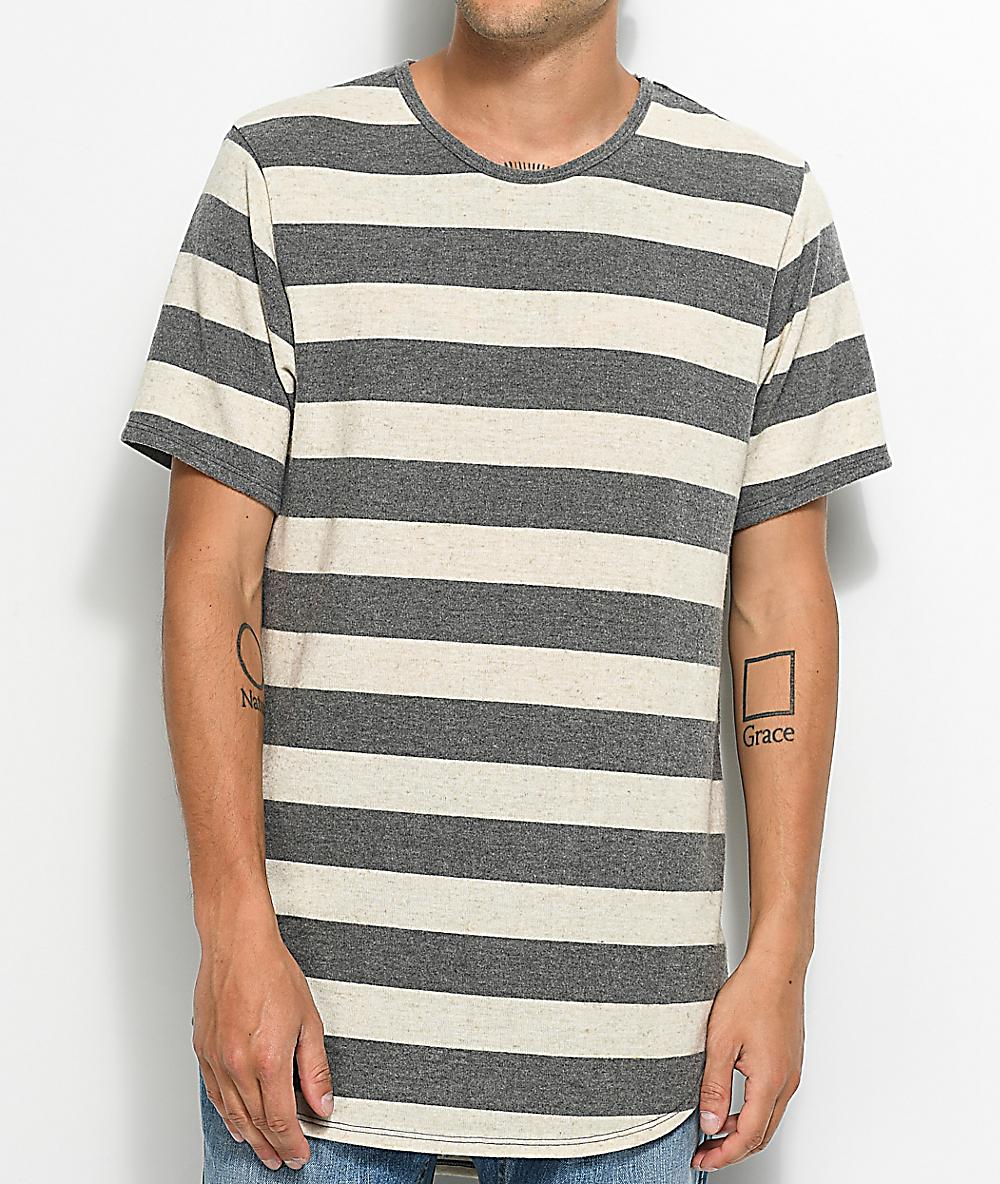 9df975a4dc2b Rustic Dime Brushed Hacci White & Grey Striped Elongated T-Shirt | Zumiez