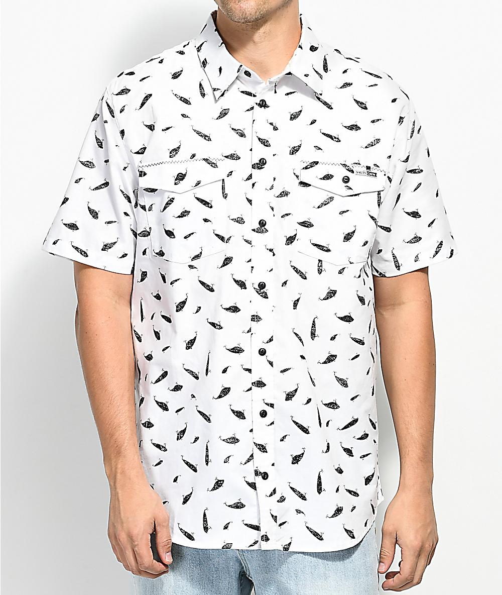 76bb7d2399ed Salty Crew Popper Fish Print White Short Sleeve Button Up Shirt | Zumiez