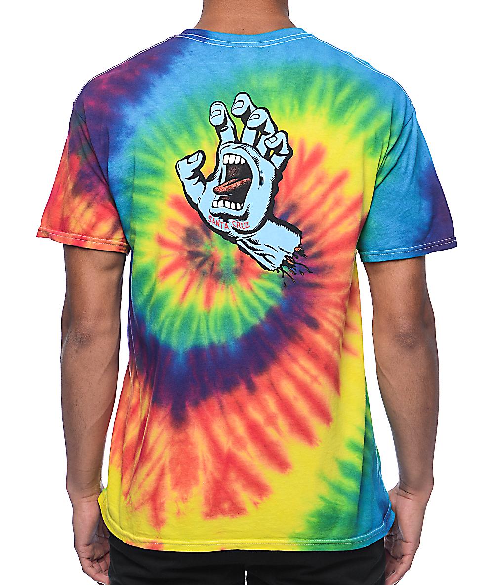 53b38d012f698 Santa Cruz Screaming Hand Reactive Rainbow Tie Dye T-Shirt