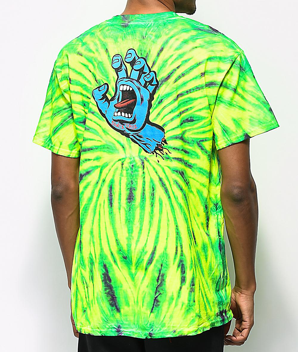 efa5dff04ac4f Santa Cruz Screaming Hand Wild Green Spider Tie Dye T-Shirt
