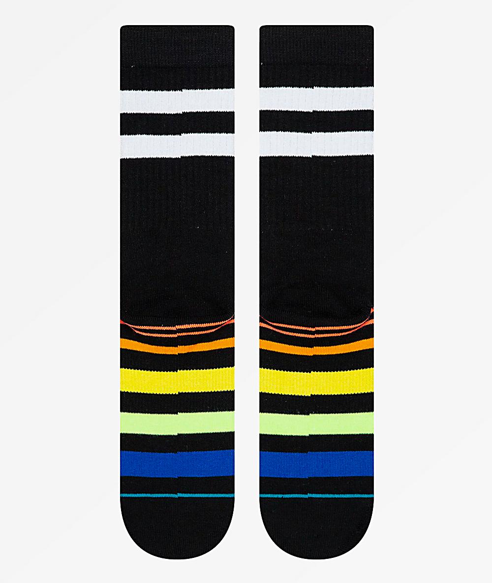 59b504631e662 Stance Moon Man Striped Black Crew Socks | Zumiez