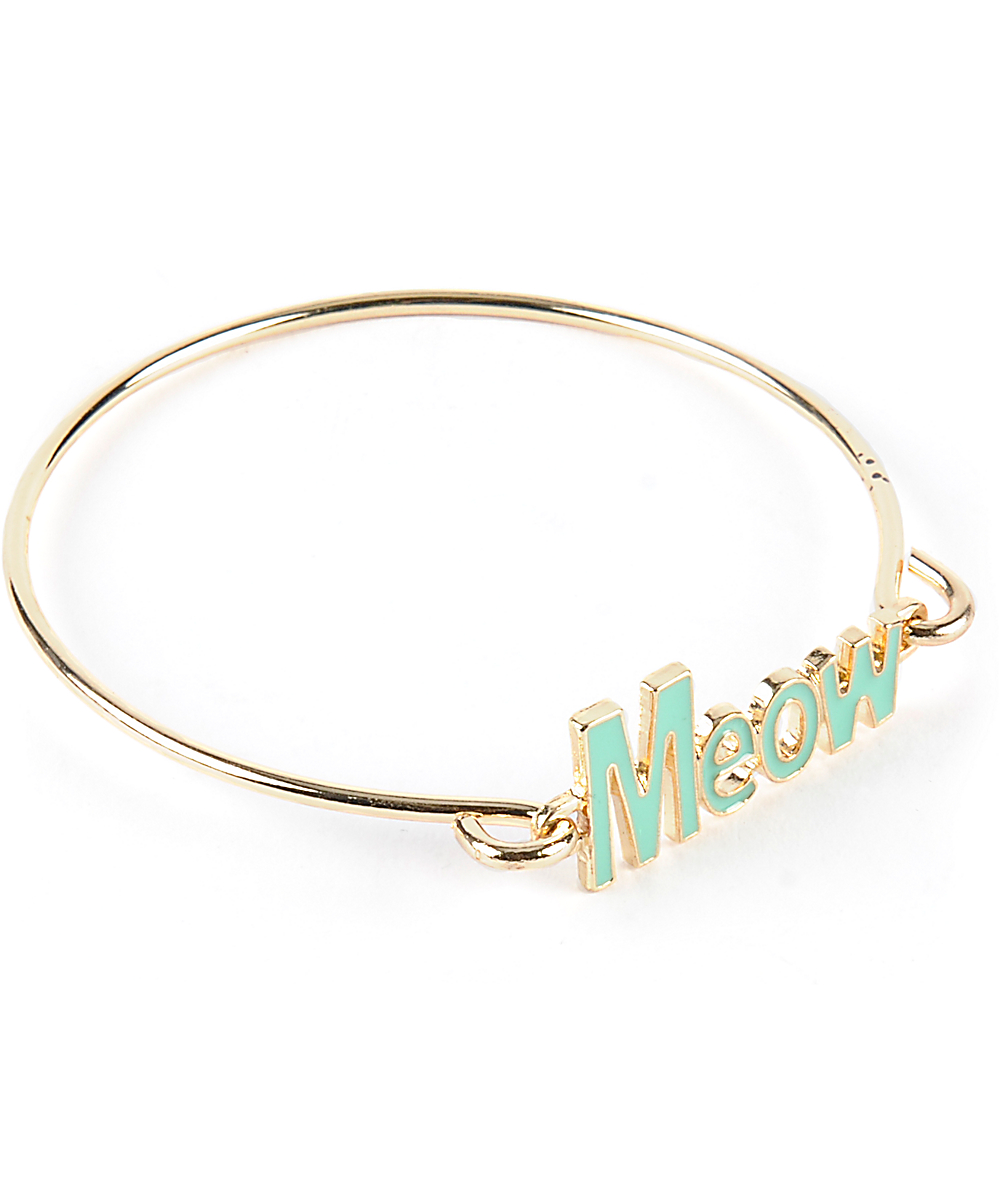 Stone Locket Meow Verbiage Bracelet