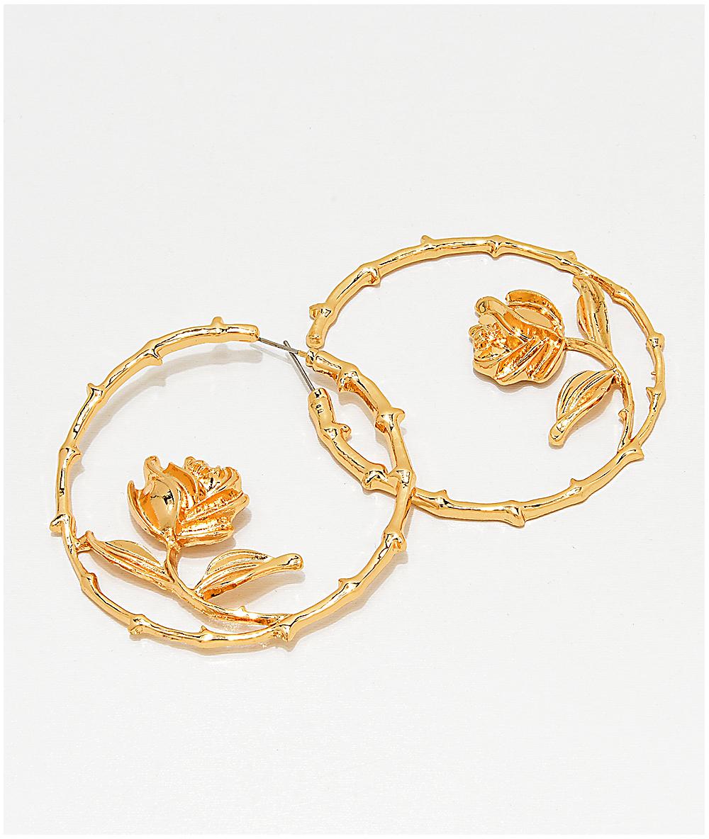 Stone Locket T Rose Gold Hoop Earrings