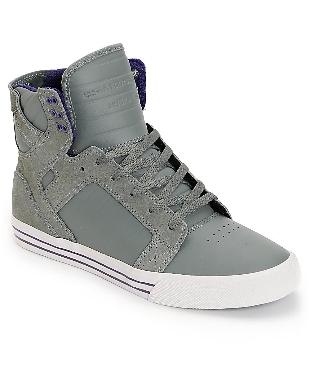 sale retailer 89f79 f3e34 Supra Skytop Grey   Purple Leather Skate Shoes   Zumiez