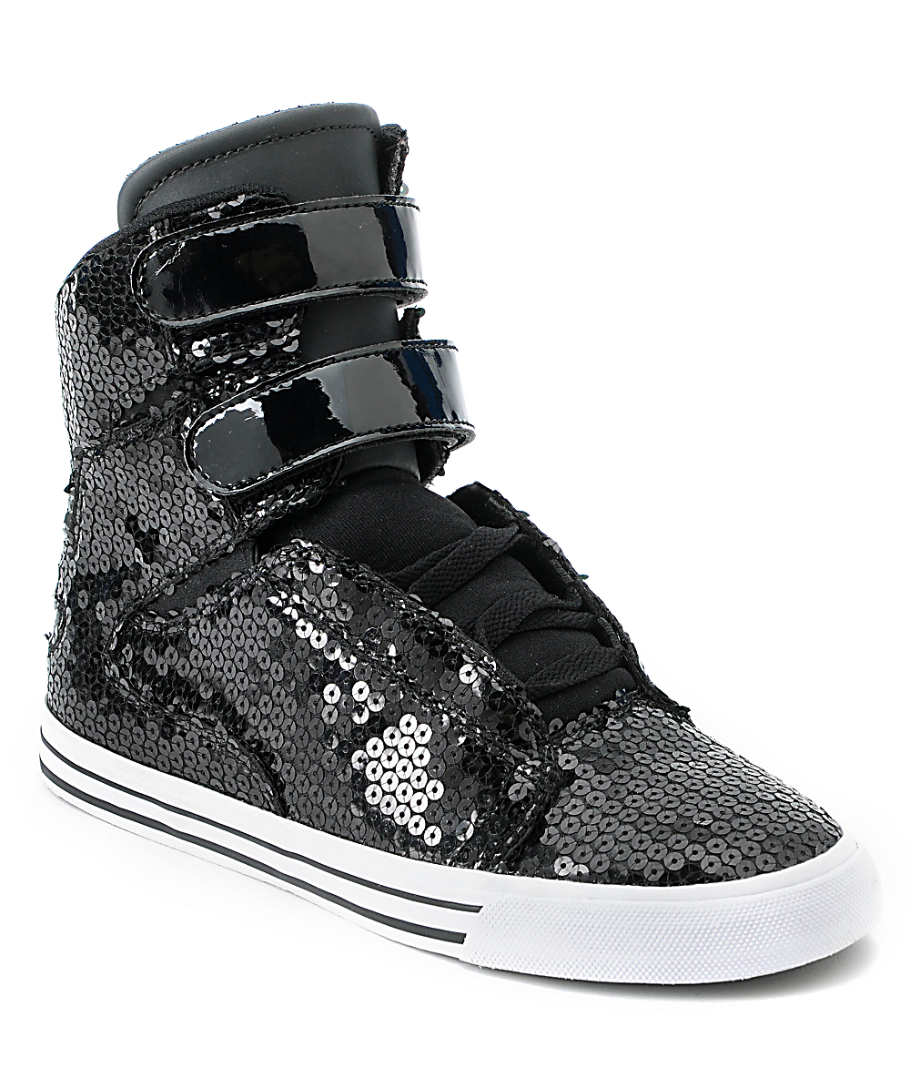 High Shoes Top Supra Society Black Womens Sequin A53j4LqR