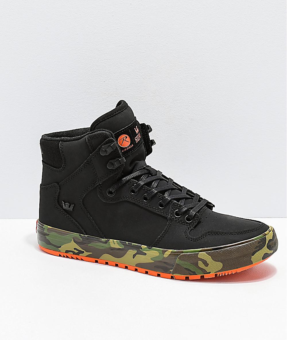 cheap for discount cab01 9bb4f Supra x Rothco Vaider CW Black, Orange   Woodland Camo Shoes   Zumiez