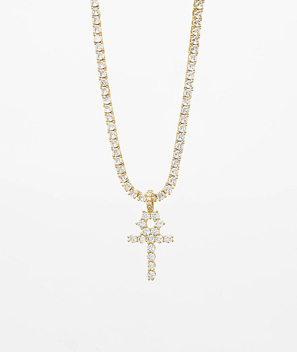 7b1fcee255710 The Gold Gods Diamond Ankh Cross & 4mm Tennis Chain Necklace