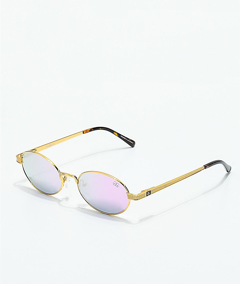 852efd4d1 The Gold Gods The Ares Gold & Lavender Gradient Sunglasses   Zumiez