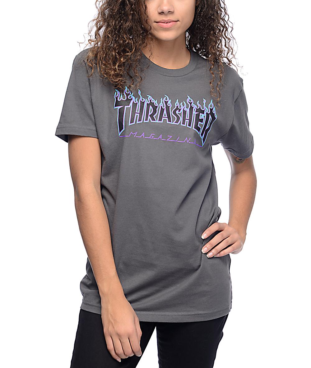 ca2ac1249efe Thrasher Flame Logo Grey T-Shirt | Zumiez