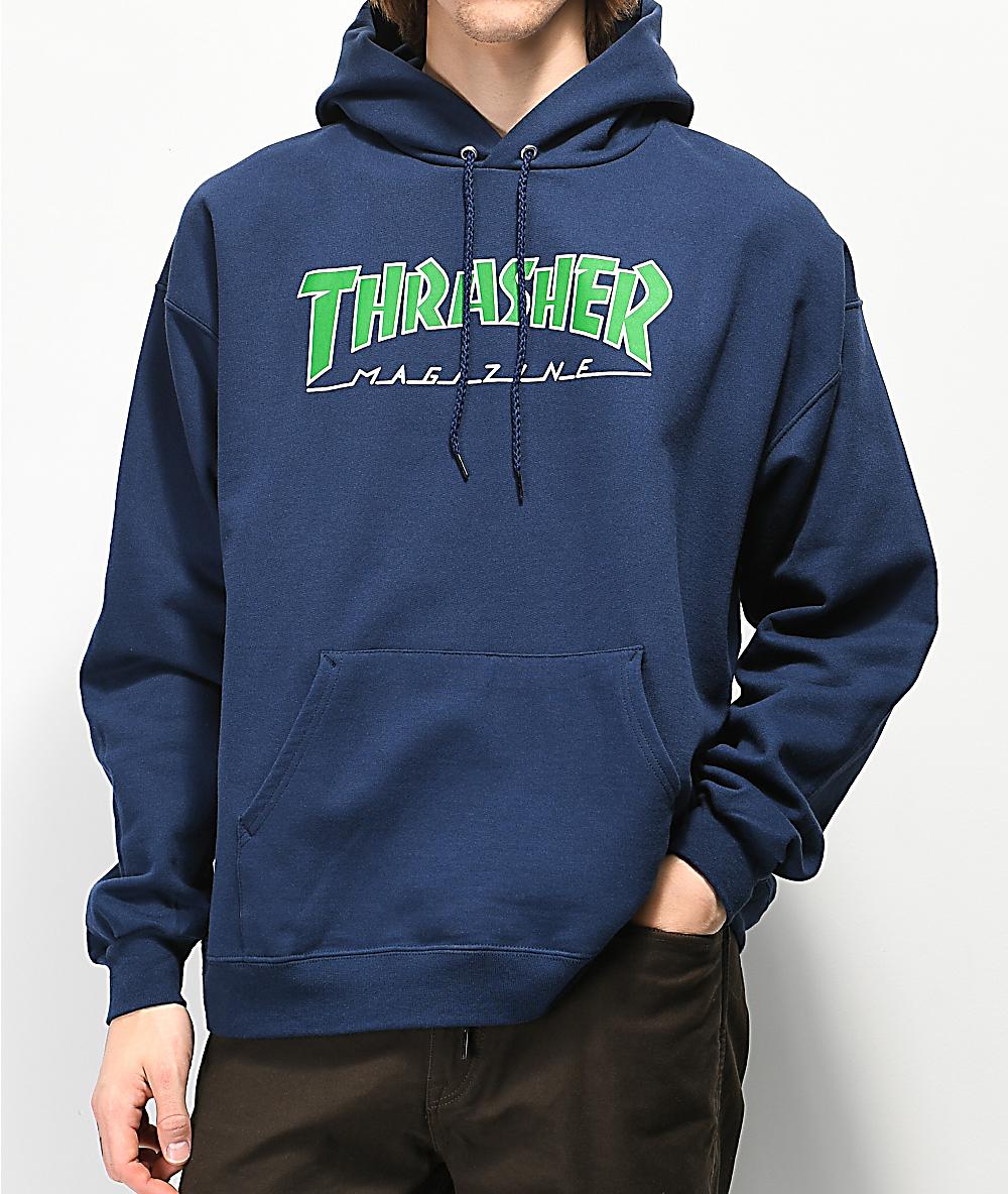 disponibilidad en el reino unido c6ec9 a921b Thrasher Outlined Logo sudadera con capucha azul marino