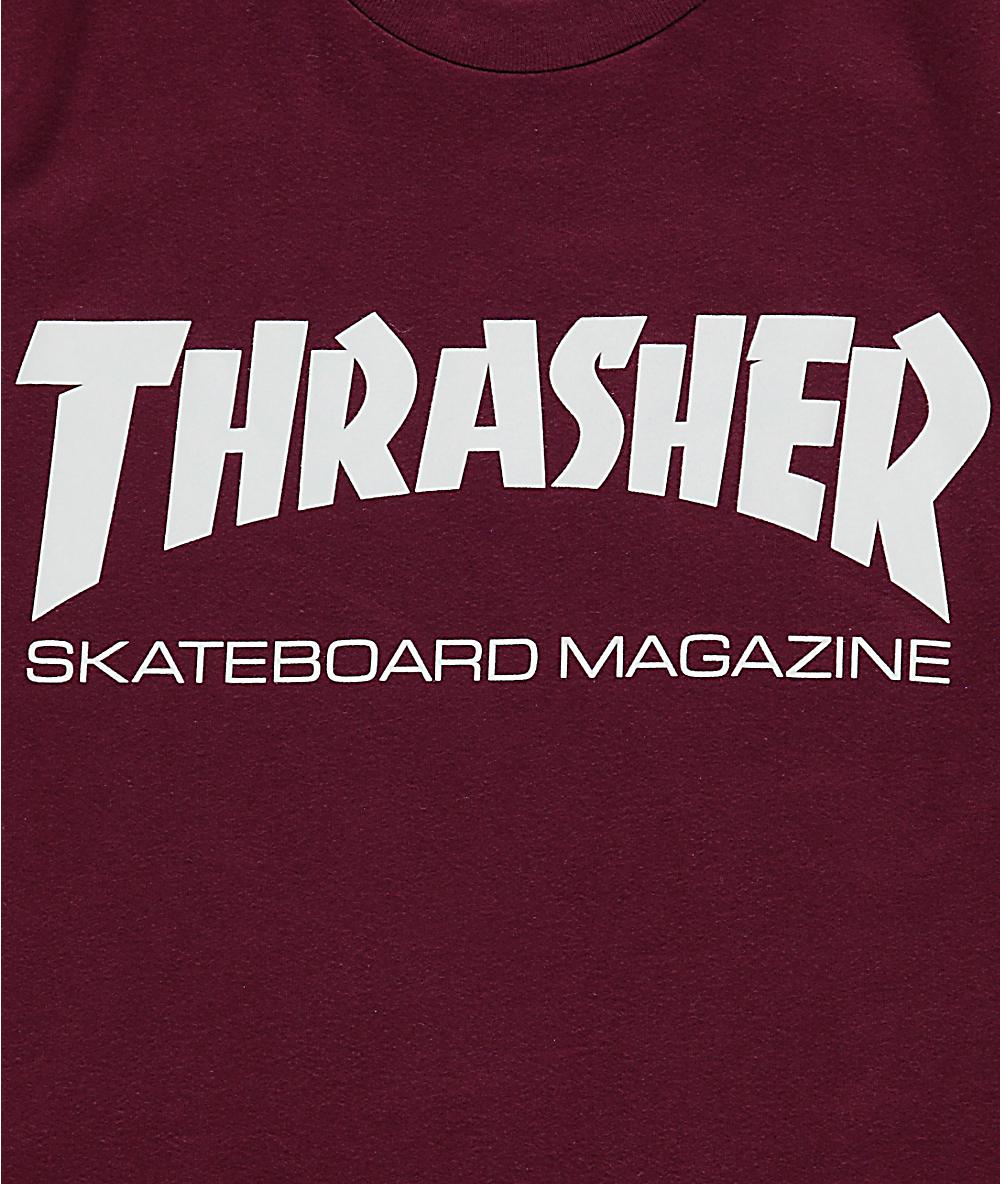 084ce49ee2a8 Thrasher Skate Mag Burgundy Boyfriend Fit T-Shirt | Zumiez