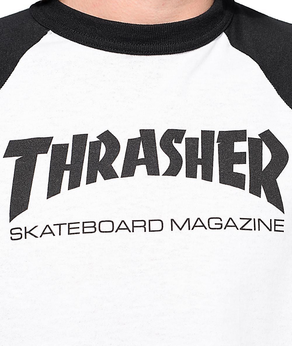 46b91803b856 Thrasher Skate Mag White & Black Baseball T-Shirt | Zumiez
