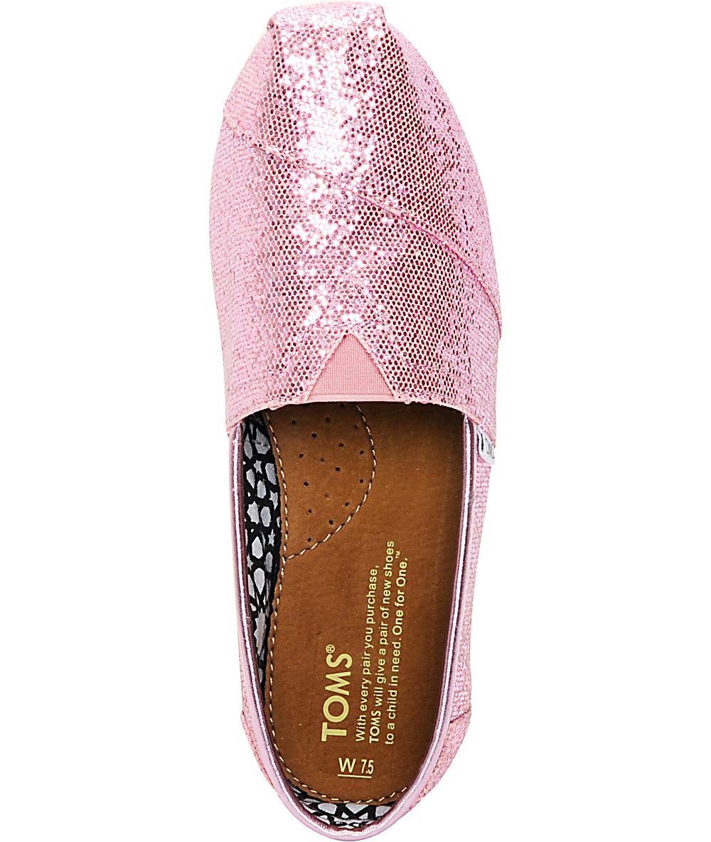 b50f09dd493b Toms Classics Canvas Pink Glitter Womens Shoes | Zumiez